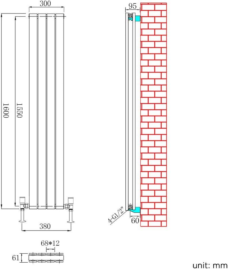 ELEGANT Vertical Column Designer Radiator Tall Upright Flat Panel 1600 x 300 mm White Double Radiators with Free Angled Valves