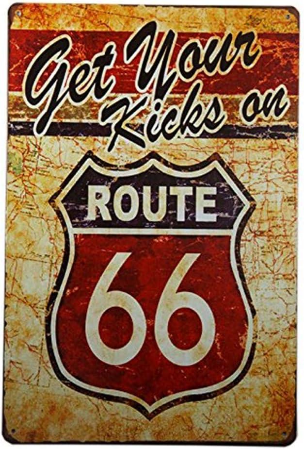 DKJN Get Your Kicks on Route 66 Antique Motor Oil, Vintage, Metal, Tin Sign for The Garage (M0087)