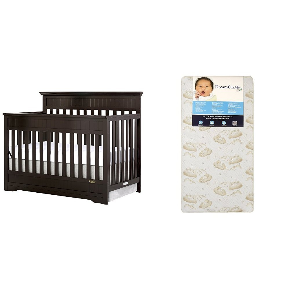 Dream On Me Chesapeake 5-In-1 Convertible Crib with Dream On Me Spring Crib and Toddler Bed Mattress, Twilight