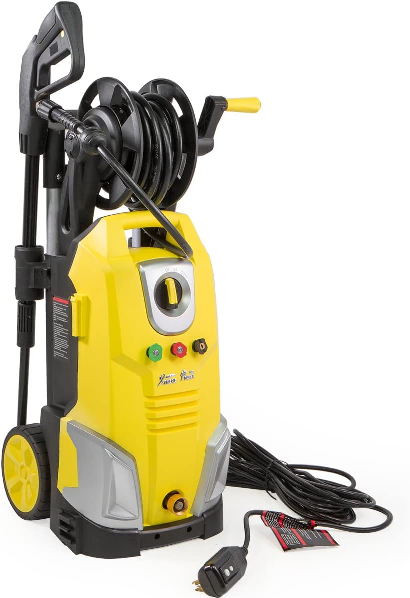 Amazon Com Xtremepowerus Electric Pressure Washer W Hose Reel Jet Wand Nozzle Adapter Built In Soap Dispenser 2000 Psi 1 7 Gpm Yellow Garden Outdoor