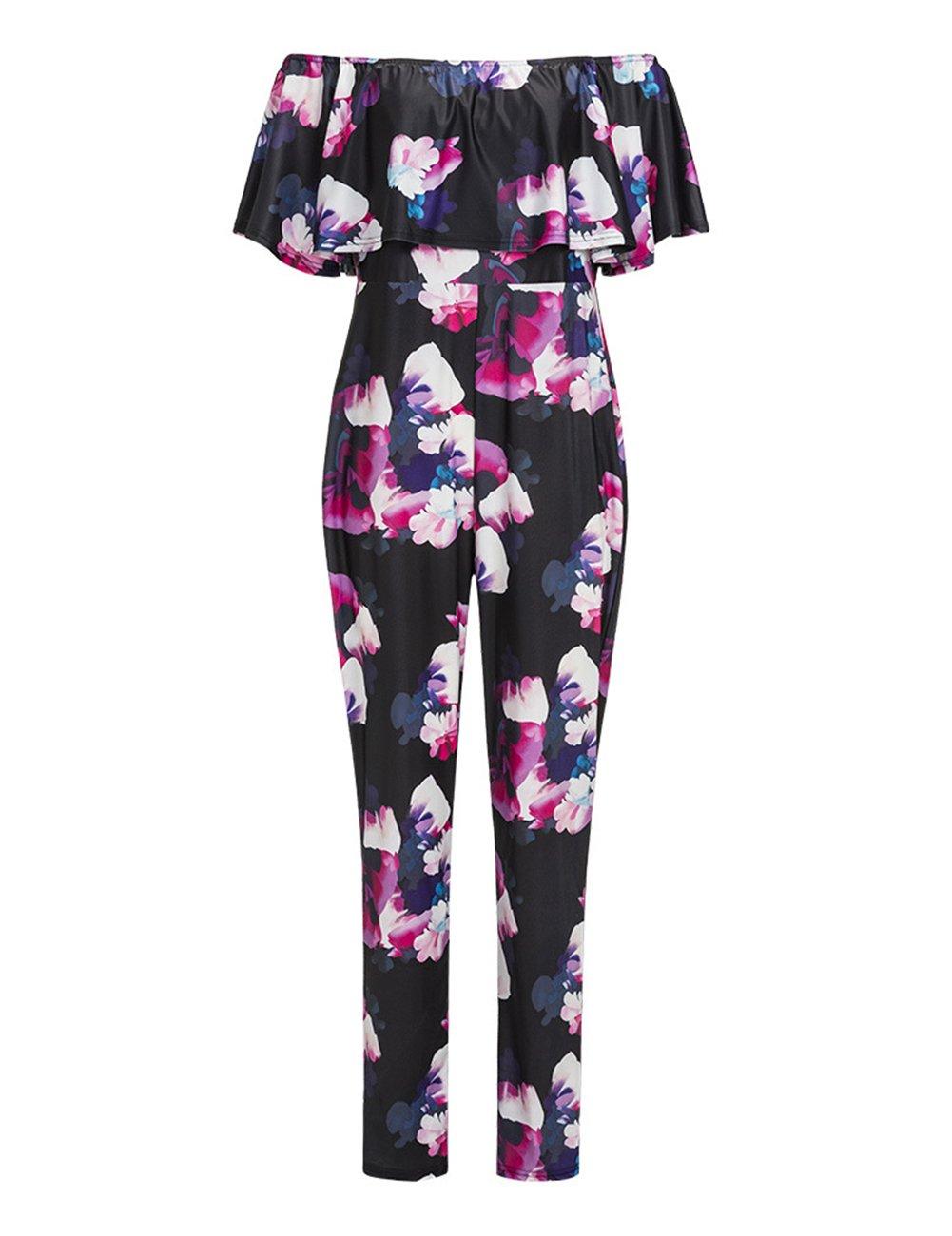 Yiwa Women's Fashion Off Shoulder Short Sleeve Printing Sexy Jumpsuit Large Size
