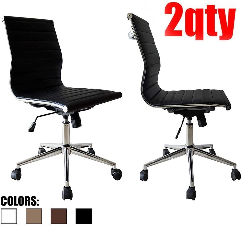 2xhome Executive Mid Back PU Leather No Arms Rest Tilt Adjustable Height with Wheels Lumbar Support, 2 Chairs, Black