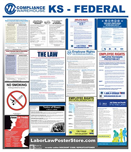 2018 Kansas KS State Federal all in 1 LABOR LAW POSTER workplace compliance (Kansas Ks Printed Poster)