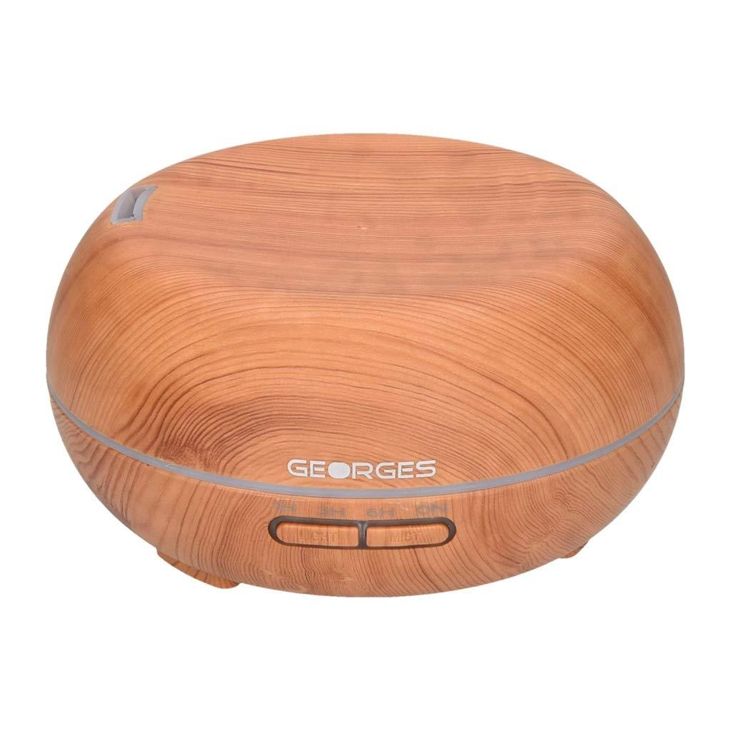Georges Aroma-Diffuser Luftbefeuchter 300ml / 400ml mit LED-Licht im edlen Holzdesign (light wood 3)
