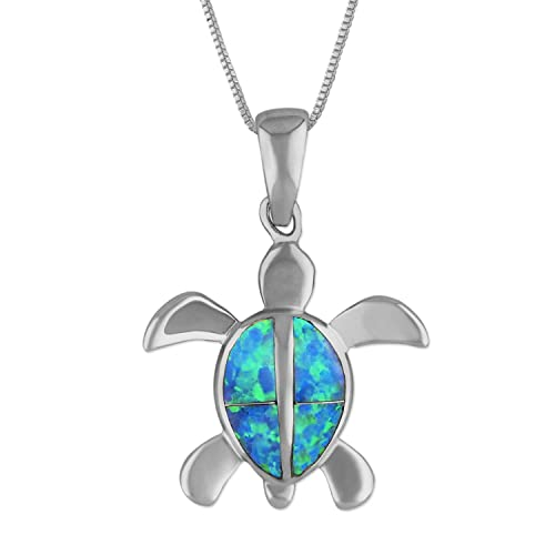 Sterling Silver Synthetic Blue Opal 7 8 Inch Turtle Pendant Necklace, 16 2 Extender