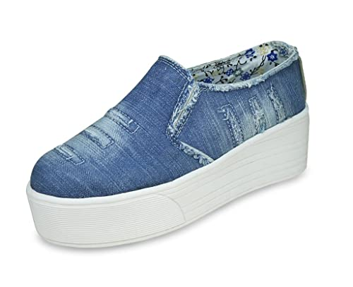 48a3e0055b18e5 BEONZA Women Blue Rugged Denim Jeans Sneakers Casual Shoes  Buy Online at  Low Prices in India - Amazon.in