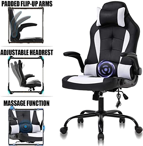 PC Gaming Chair Ergonomic Racing Heavy Duty Office Chair Video Game Chair, Massage Function Lumbar Support with Flip Up Arms Headrest Nice Chic Desk Chair, Adjustable Best Home Office Chair – White
