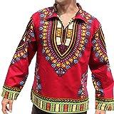 RaanPahMuang Brand European Poets Collar Long Sleeve Shirt African Dashiki Art, X-Large, Dark Red