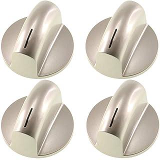 Spares2go - Perilla de control para horno Bosch (4 unidades), color plateado