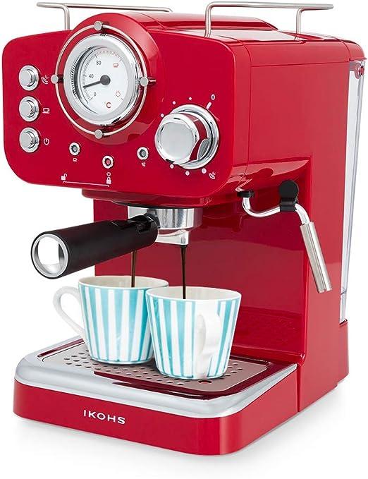 IKOHS THERA Retro - Cafetera Express para Espresso y Cappucino, 1100W, 15 Bares, Vaporizador Orientable, Capacidad 1.25l, Café Molido y Monodosis, con Doble Salida (Rojo): Amazon.es: Hogar