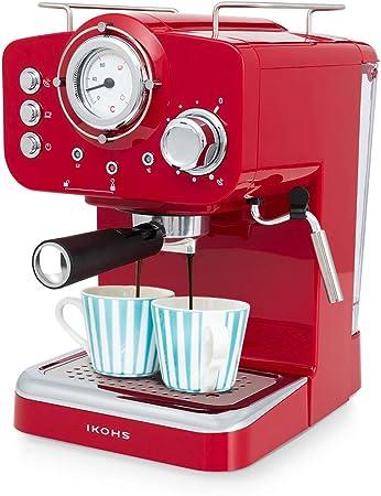 Oferta amazon: IKOHS THERA Retro - Cafetera Express para Espresso y Cappucino, 1100W, 15 Bares, Vaporizador Orientable, Capacidad 1.25l, Café Molido y Monodosis, con Doble Salida (Rojo)
