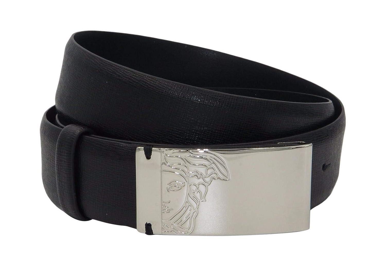 3781bfb826415 Amazon.com: VERSACE COLLECTION Black Saffianio Leather Medusa Buckle Belt  158 43 (115): Clothing