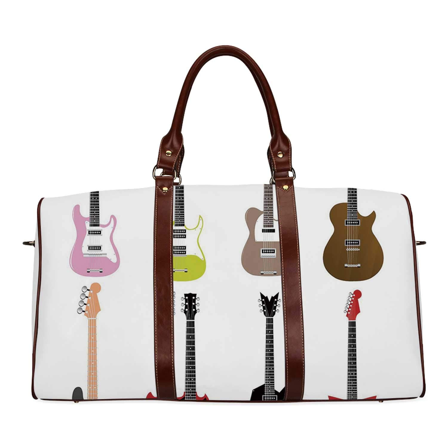 Guitar Practicality Travel Bag,Graphic Collection of Guitars Colorful Stringed Instruments Fretboard Rock Blues Decorative for School,20.8''L x 12''W x 9.8''H by YOLIYANA