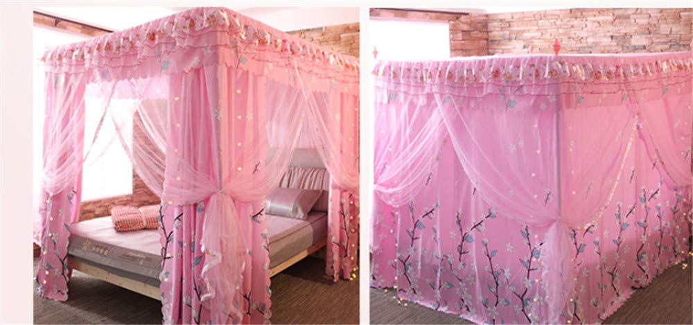 Mosquito net Double Bed on Bedroom Insect-Proof Children's Gauze Princess Wind Floor Hanging Home Summer Decoration Tent, Pink, 2.0M by Lostryy-Mosquito Nets Baby (Image #7)