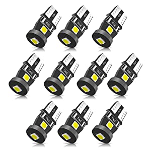 SEALIGHT 194 LED Bulb 6000K White Super Bright 168 2825 W5W T10 Wedge LED Replacement Bulbs, Canbus Error Free for Car Interior Dome Map Door Courtesy License Plate Lights (Pack of 10)