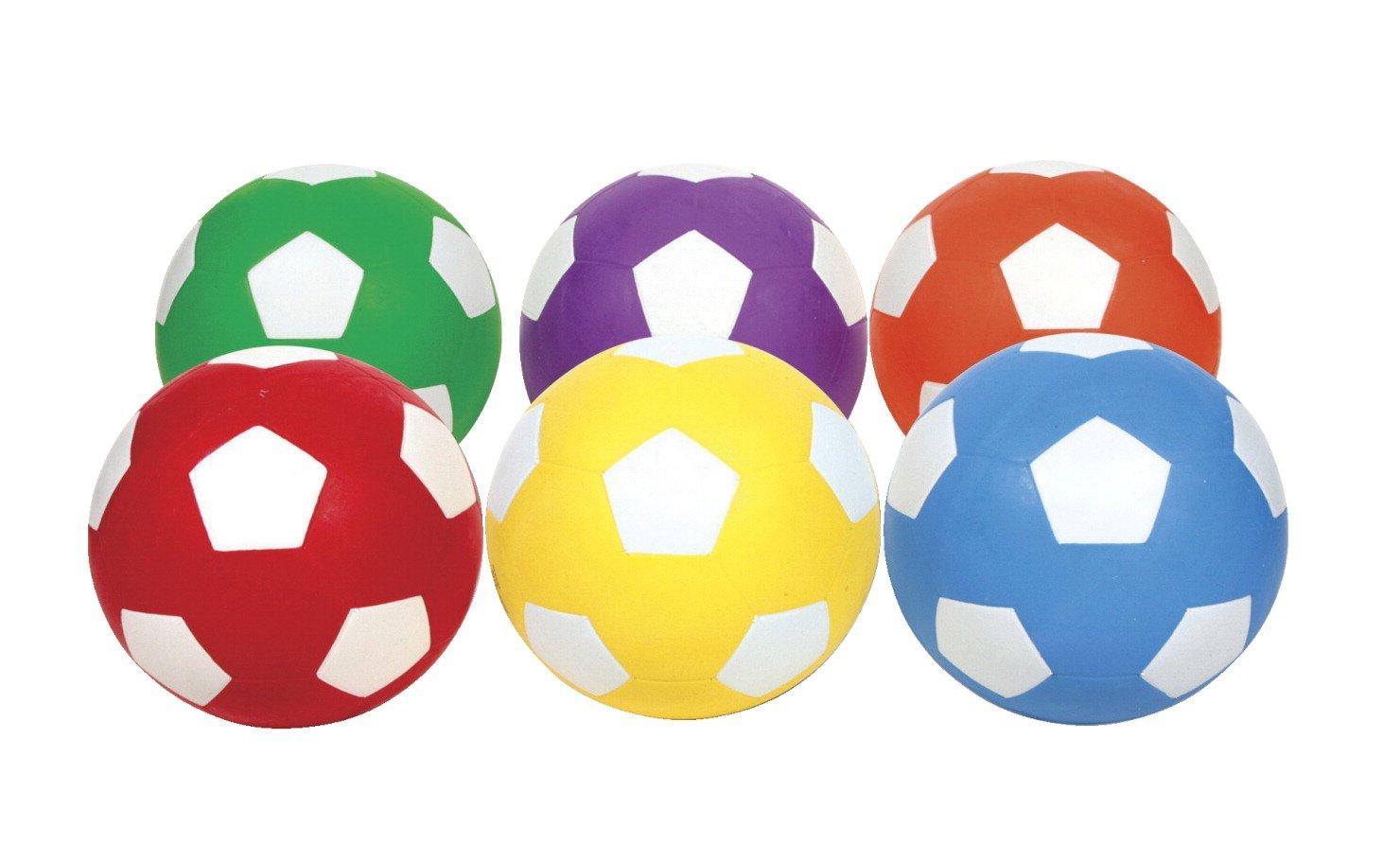 School Smart Size 4 Soccer Balls, Assorted Colors, Set of 6