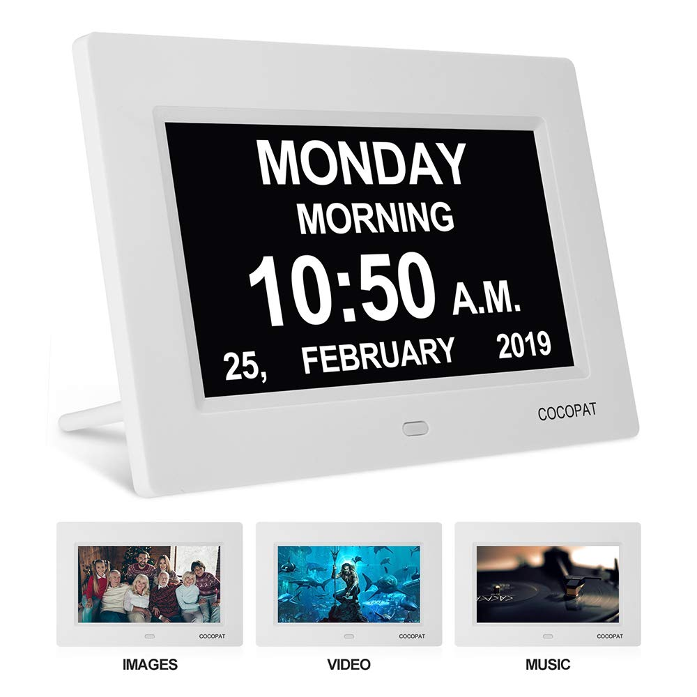 Digital Clock Large Display for Seniors - Impaired Vision Digital Clock with USB Charger Port, SD Card Support Play Picture, Video, Perfect Elderly Dementia Products, its Best Gifts for Elderly by Cocopat
