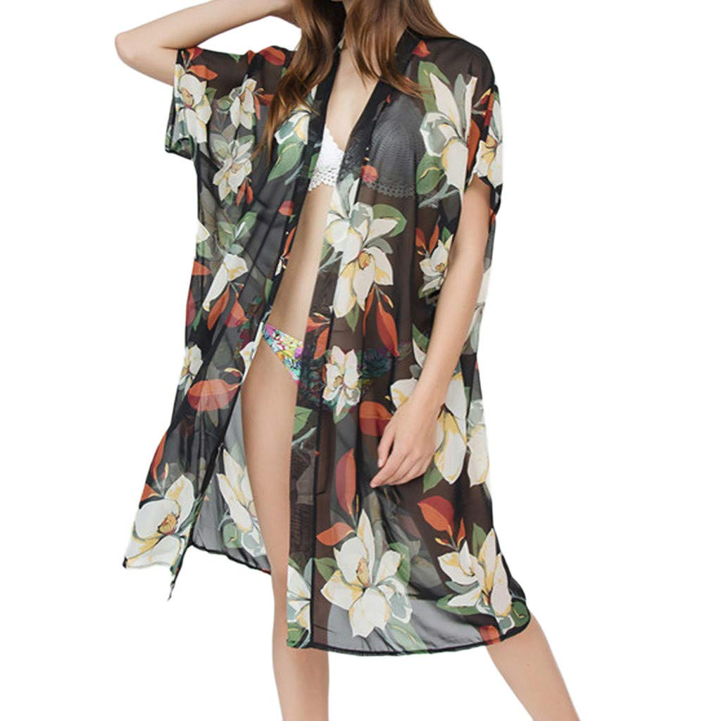 Winsummer Women's Beach Cover Up Floral Print Chiffon Summer Sun-Protection Swimwear Kimono Cardigan Black