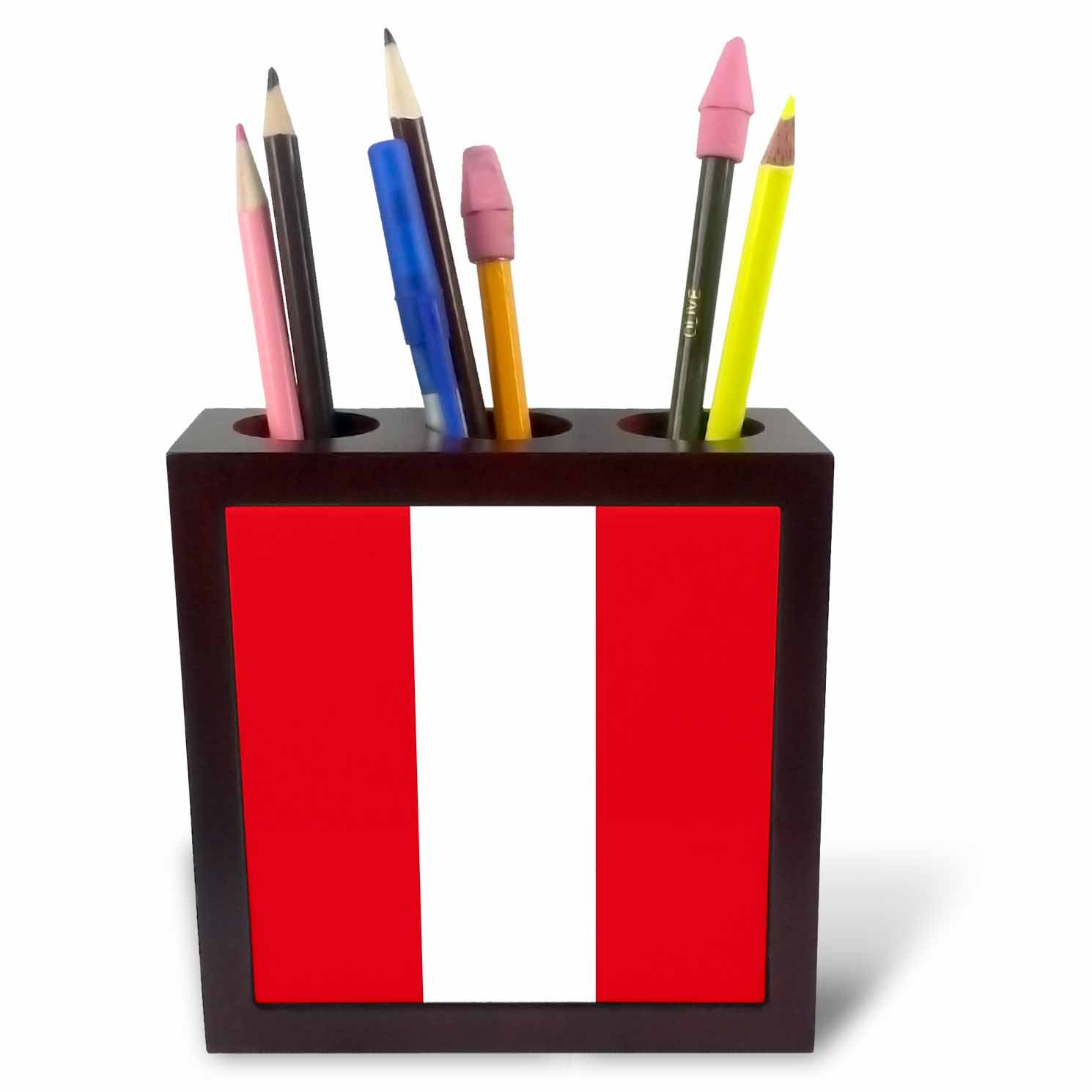 3dRose ph_158412_1 Flag of Peru Peruvian Red and White Stripes South America American Country of The World Souvenir Tile Pen Holder, 5-Inch