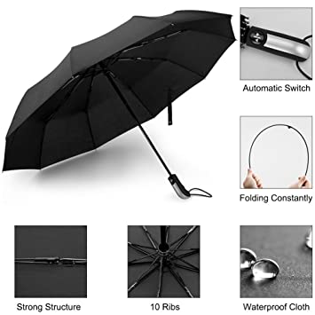 AimdonR Paraguas automático, al aire libre/Auto abrir/cerrar la lluvia/sol