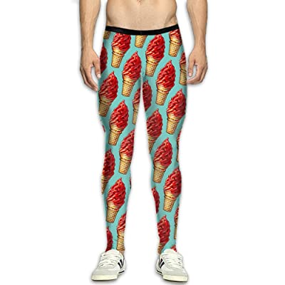 QWYHFHH Men's Compression Pants Baselayer Ice Cream Dry Sports Tights Leggings