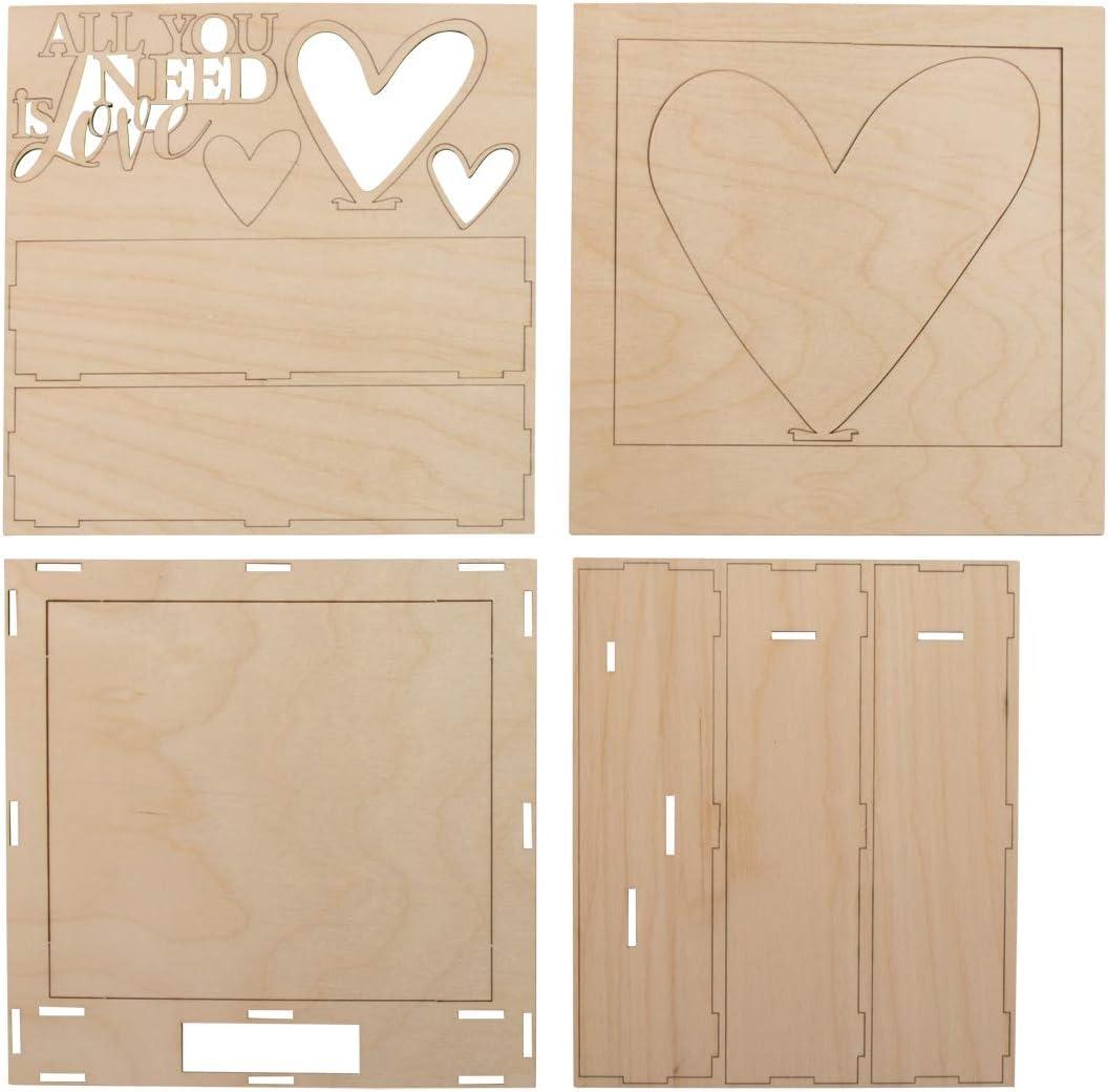 All.Love 16-tlg Rayher 62887505 Holzbaus.3D-Motivrahmen,FSCMixCred 24x24x6,3cm Natur Box 1Set