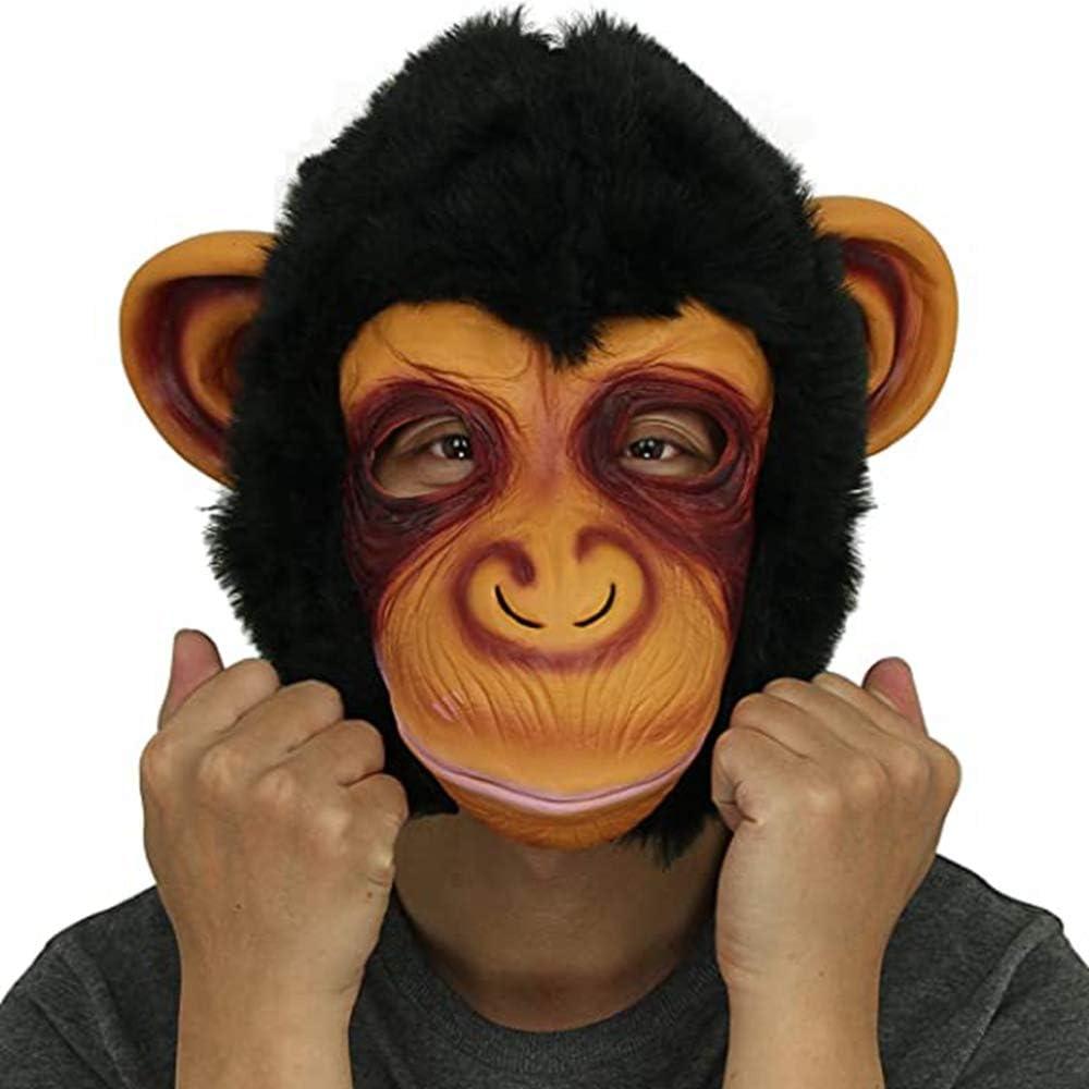 Cusfull Disfraces de Chimpancé Mágico Máscaras de Animal Mono de Látex de Caucho para Adultos Disfraz de Orangután Negro Fiesta Halloween Antifaz de Cabeza Espeluznante Novedad