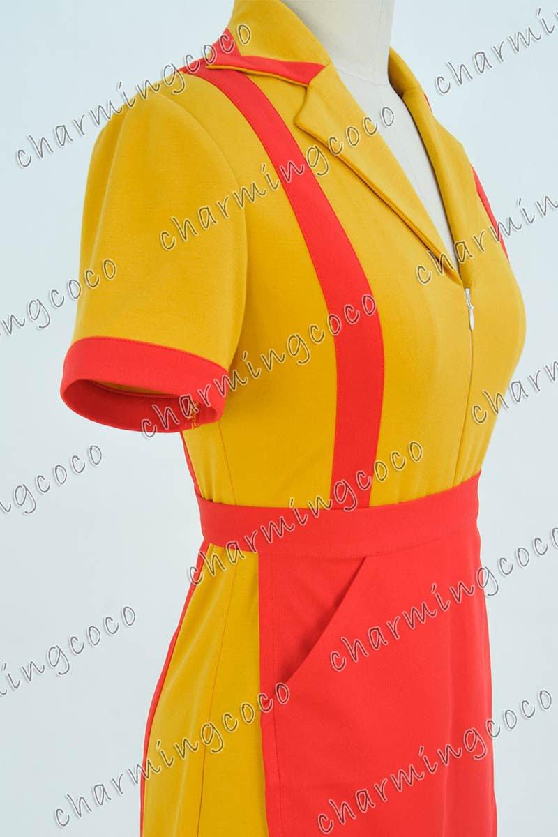2 Broke Girls Max Black Caroline Wesbox Channing Uniform Cosplay Costume Dress by CharmingCoco (custom made)