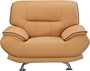 """American Eagle Furniture Arcadia Mid Century Modern Leather Living Room Chair, 48"""", Yellow"""
