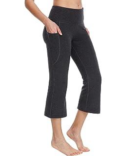 e4a2bf0fb96fe0 Baleaf Women's Yoga Capri Pants Flare Workout Bootleg Crop Leggings