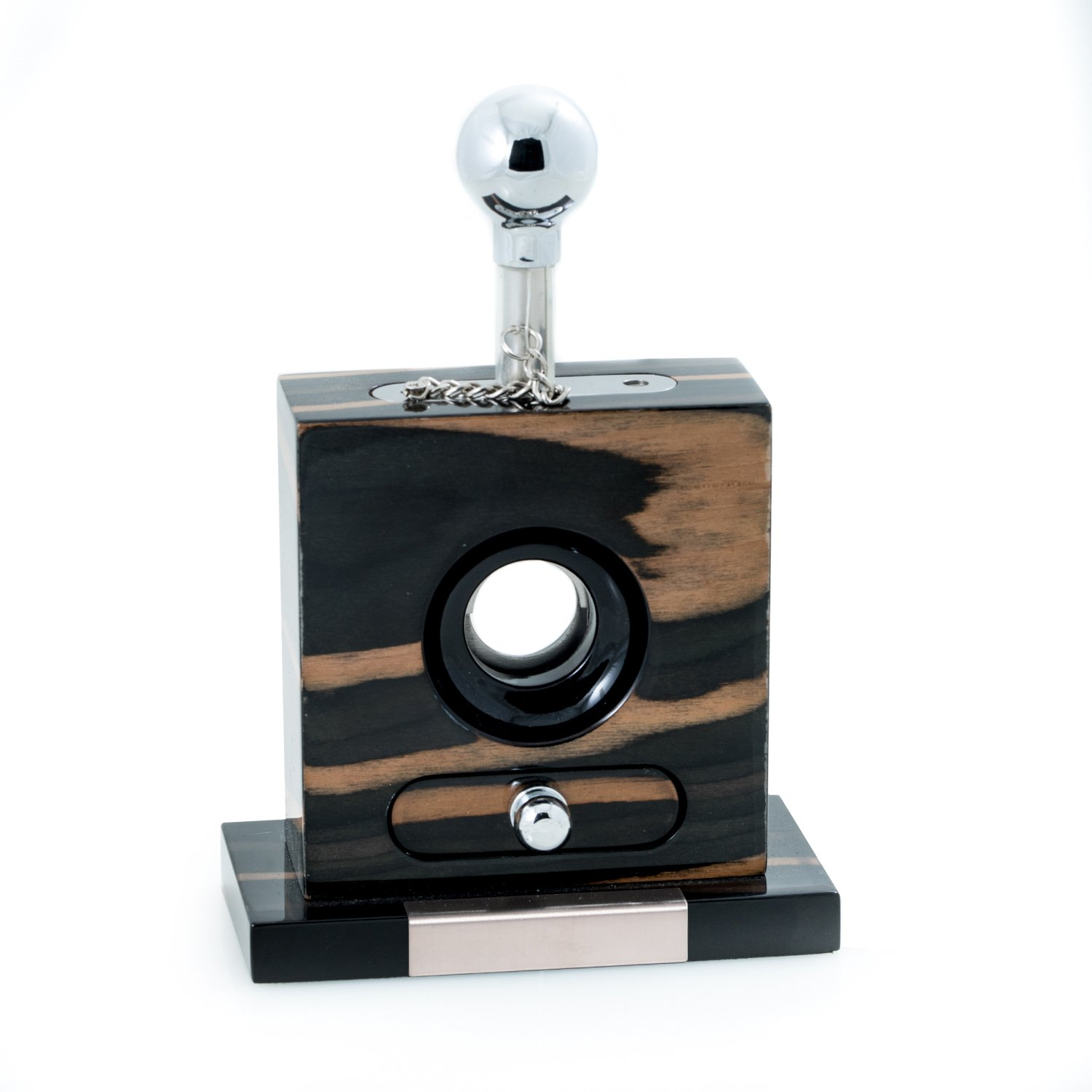 Bey-Berk AJ-C114 Lacquered Wood and Stainless Steel Table Top Guillotine Cigar Cutter with Drawer for Cuttings, Ebony
