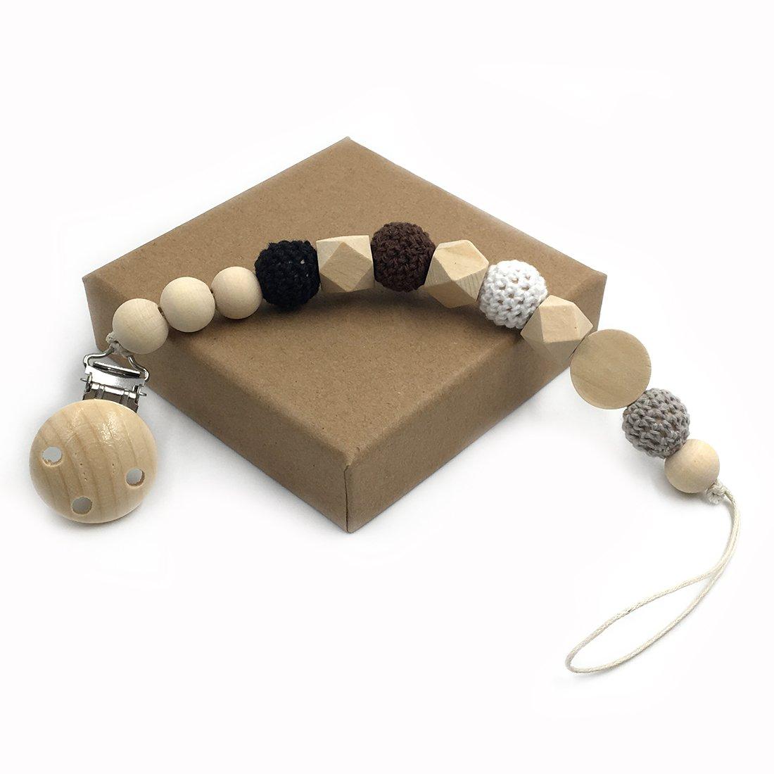 Coskiss Enfermera geométrica de madera de dientes ganchillo perlas chupete clip maniquí color natural cordón de seda Baby Teether regalo (gris)