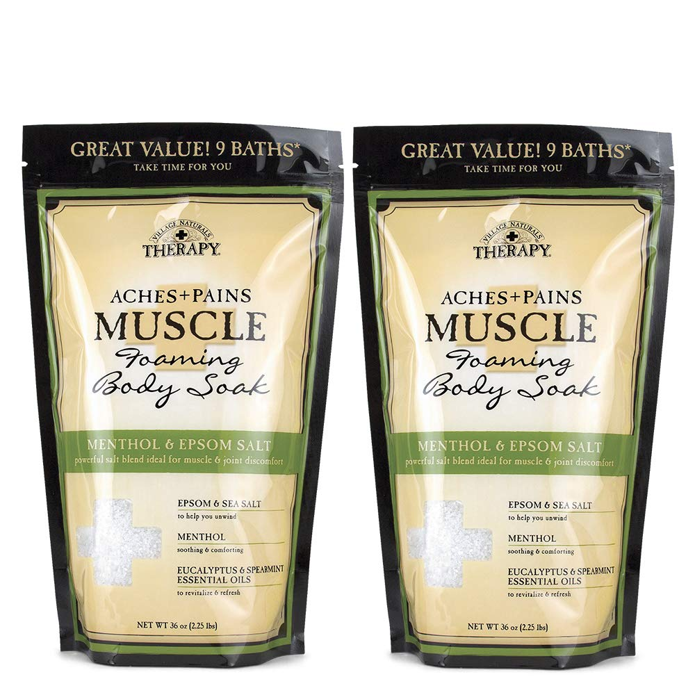 Village Naturals Therapy, Foaming Epsom Soak, Aches & Pains Muscle Relief, 36 oz, Pack of 2