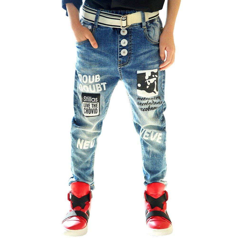 Boys Fashion Pants Print Stretch Jeans Denim Trouser