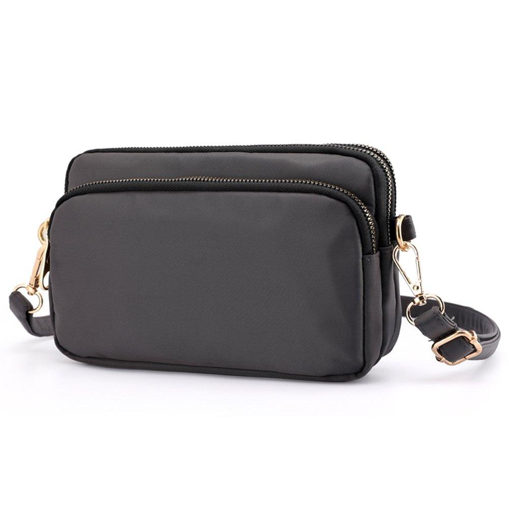 SCIEN Small Crossbody Purse Mini Nylon Shoulder Bag Cell Phone Pouch Zipper Pocket for Women, Dark Grey