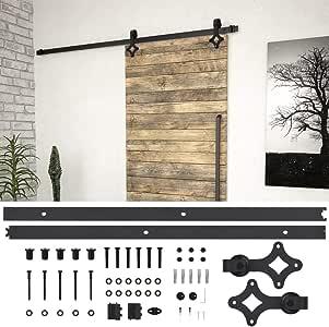 Festnight Kit de Herrajes para Puertas Correderas Acero Negro 200 Cm, 80 Kg, Juego de Colgadores para Puertas Correderas, adecuadas: 70-100 cm de Ancho, 35-45 mm de Grosor: Amazon.es: Hogar