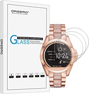 (3 Pack) Orzero Compatible for Michael Kors Bradshaw Tempered Glass Screen Protector(Upgraded Version, 2.5D Arc Edges 9 Hardness HD Anti-Scratch Bubble-Free (Lifetime Replacement)