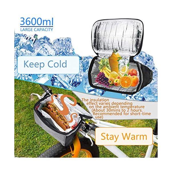 MattiSam Bike Handlebar Bag, Bike Basket with | Mesh Pocket – Cold & Warm Insulation – Reflective Strap – Touchable Transparent...