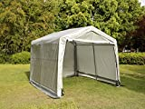 Usexport 10x10x8ft Portable Auto Shelter Instant Garage Storage Shed Canopy Carport Cover with Enclosure Kit Gray