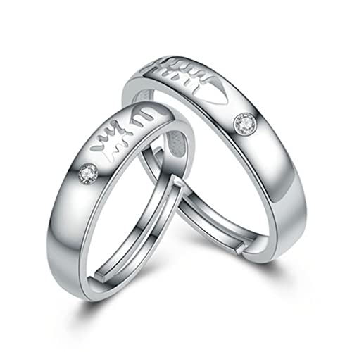 bishilin S925 plata hueca pescado hueso Juego de anillos de boda para él y ella (