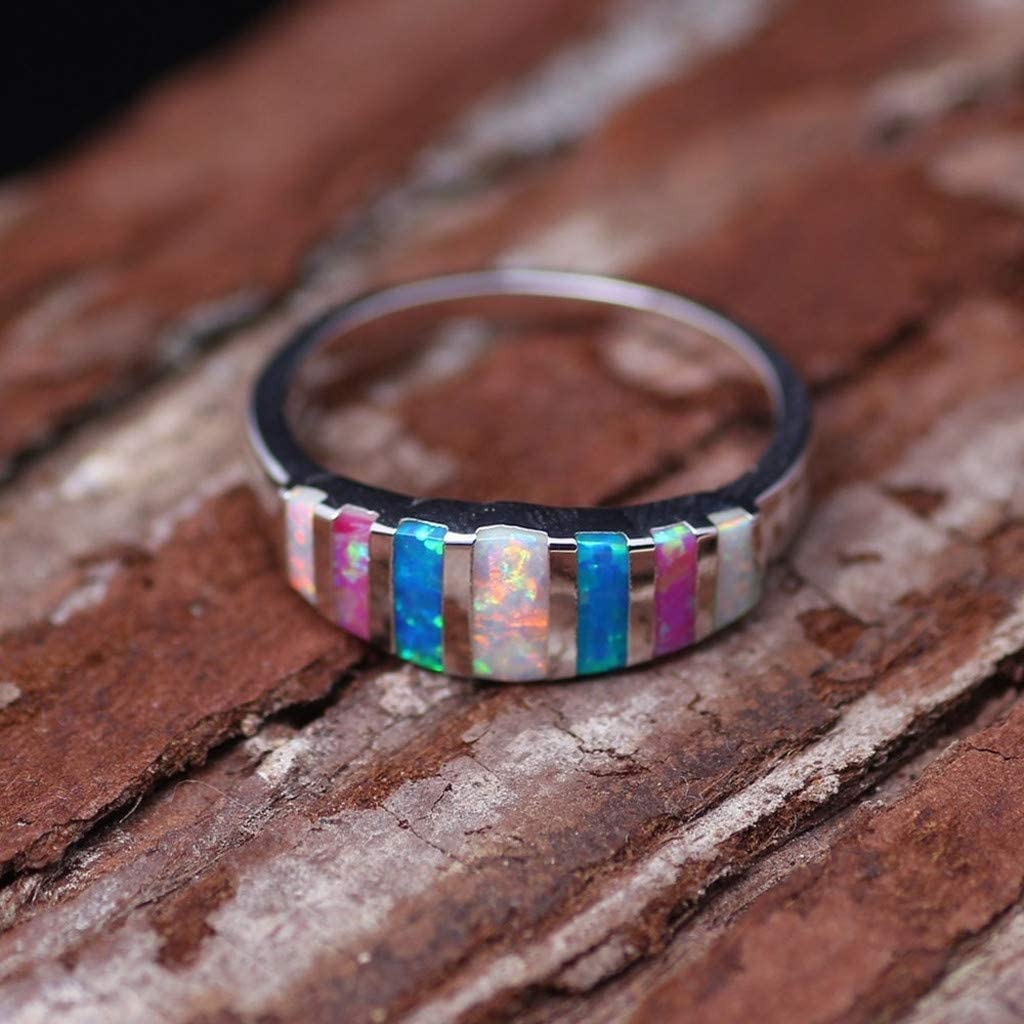 OVERMAL/_Rings Opal Ring for Women Lucky in Love Stone Wedding Band Engagement Rings Girls Gift