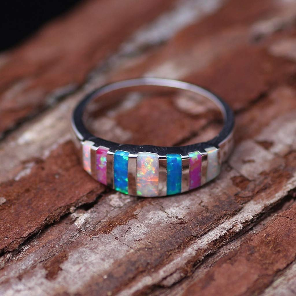 Multicolor Rainbow Fire Opal Engagement Ring Silver Plated Lucky in Love Stone Gemstone Anniversary Ring Wedding Band Gift Haluoo Opal Ring for Women Size 5-12