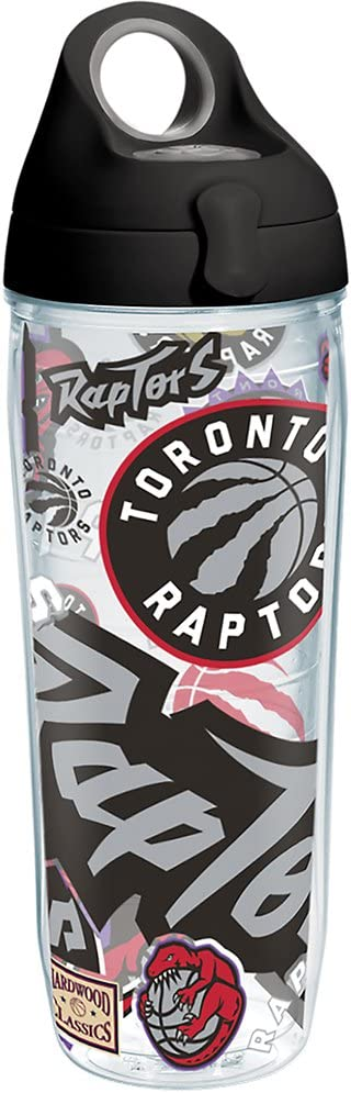 Clear Tervis NBA Toronto Raptors All Over Tumbler with Wrap and Black with Gray Lid 24oz Water Bottle