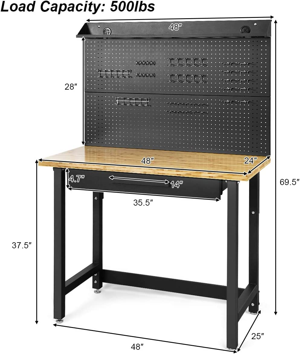 Heavy Duty Workbench With Work Light Pegboard Multi Purpose Garage Tools Storage