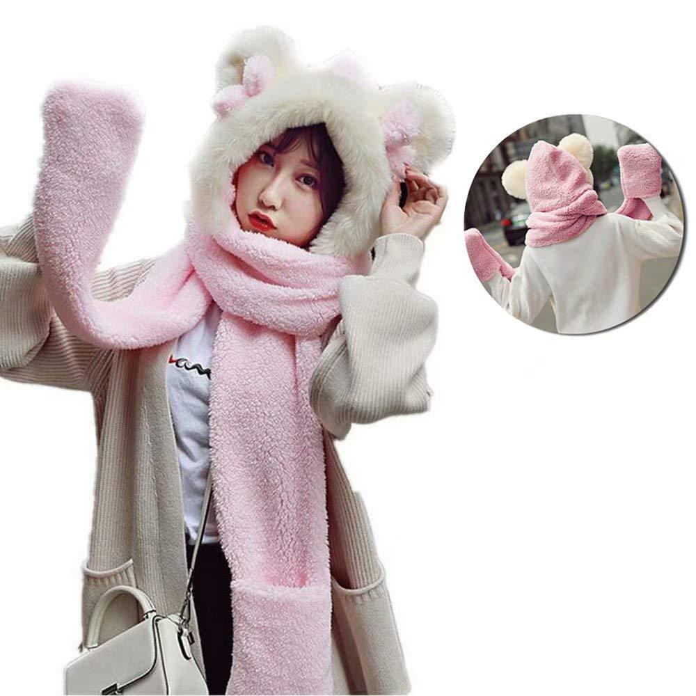MiniGreen Chapeau en Peluche Hiver Bonnet 3D Motif de Ours Chapeaux  Oreilles Rondes Noeud Cagoule Cache-oreilles Gants Echarpe Capuche pour  Fille Femme ... 962f9755525
