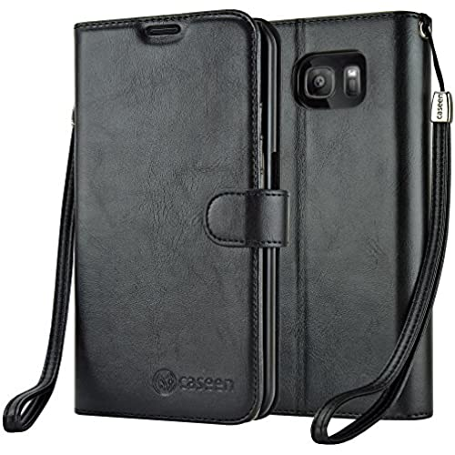 caseen - Samsung Galaxy S7 Edge Wallet Case Synthetic Leather Wristlet Cover - Black Sales