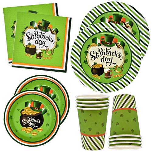 - St Patricks Day Plates and Napkins Cups for 24 Guests 24 9 Inch Shamrock Paper Plate 24 7 Inch Plates 24 9 oz Cups and 50 Luncheon Napkins Disposable Green Dinnerware Irish Decorations