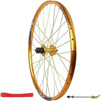 MZPWJD Rueda Delantera Bicicleta 26 Pulgadas Juego Ruedas traseras Llanta aleación Doble Capa Q/R MTB 7 8 9 10 Velocidad 32H (Color : Rear Gold, Size : 26inch): Amazon.es: Deportes y aire libre