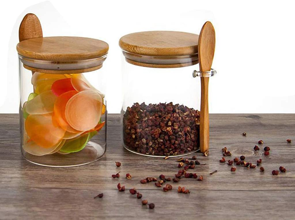pour Le Sucre Le Poivre Les graines zhiwenCZW Sucrier avec Couvercle et cuill/ère en Bambou Les /épices - 450 ML Petit Pot en Verre Transparent herm/étique pour Le Rangement de la Cuisine Le sel