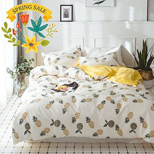 Cheap  Cotton Pineapple Print Kids Duvet Cover Set Twin Yellow Geometric Reversible Bedding..